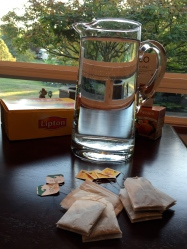 Start with 4 Lipton black tea bags, 2 peach tea bags, and 2 chai tea bags.
