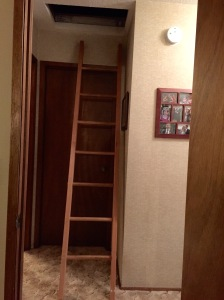 The ladder to the attic room.