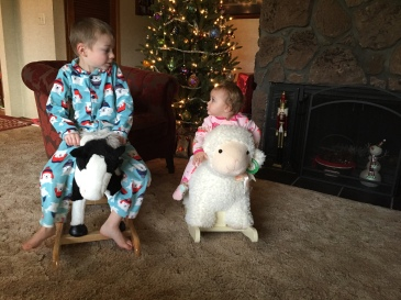 Neither of these was a Christmas gift for Niko. But he was as excited by Sofia's lamb rocker as he was by any of his own gifts. He immediately rushed to his room and hauled out his rocking horse so they could ride together.
