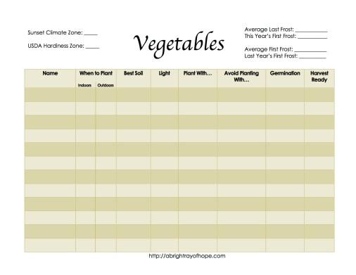 Vegetable Planning