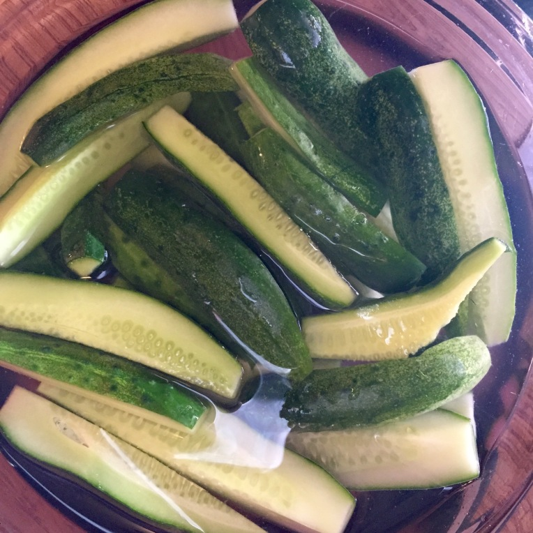 Soak the cucumbers in cold water overnight.