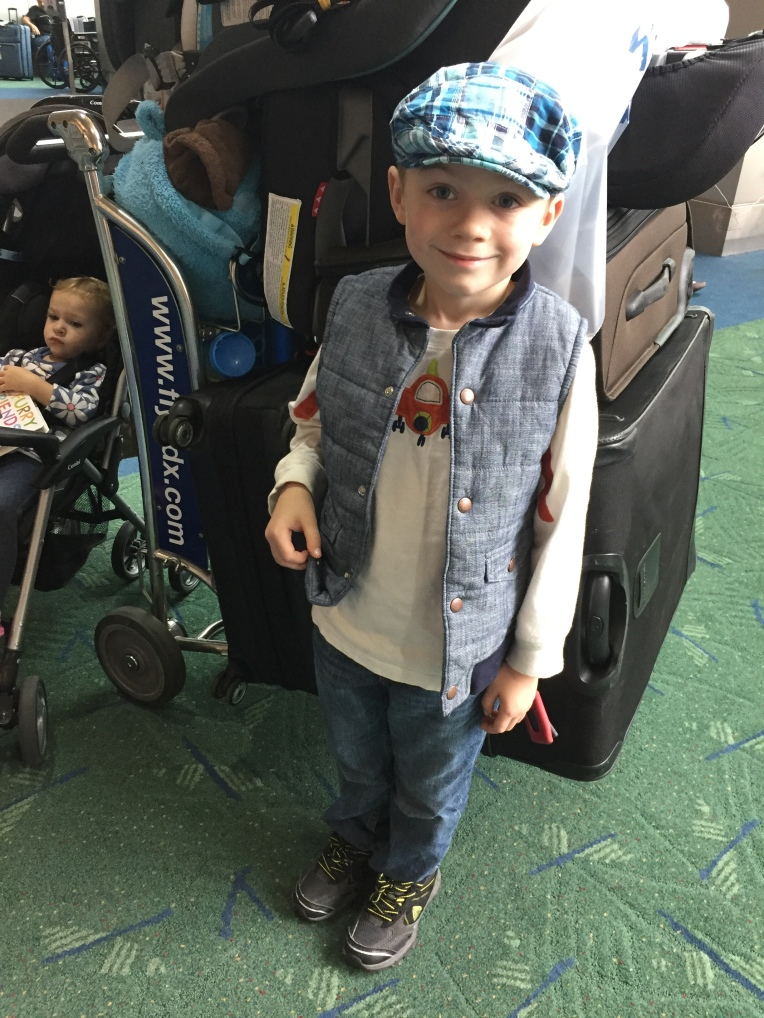 Niko is ready to board the plane.