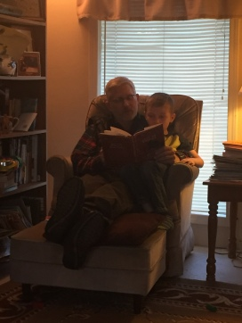 Reading stories with Grandpa.