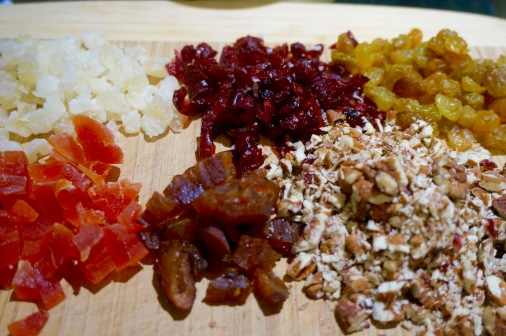 Chopped fruit and nuts.